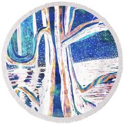 Blue-white Full Moon River Tree Round Beach Towel