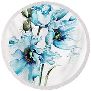 Round Beach Towel featuring the painting Blue Wind by Anna Ewa Miarczynska