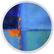 Round Beach Towel featuring the painting Blue Window Abstract by Nancy Merkle
