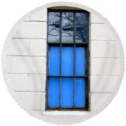 Blue Window Panes Round Beach Towel by Sandra Church