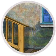 Round Beach Towel featuring the photograph Blue Window Sill by Paul Wear