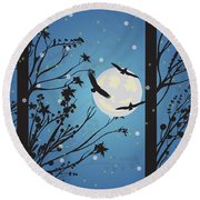 Blue Winter Moon Round Beach Towel by Kim Prowse