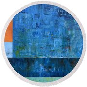 Blue With Orange Round Beach Towel