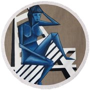 Blue Woman Round Beach Towel