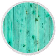 Blue Wooden Planks Round Beach Towel by John Williams