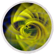 Blue Yellow Abstraction Round Beach Towel by Cathy Donohoue