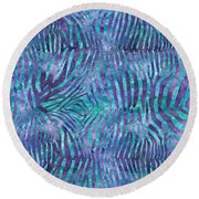 Blue Zebra Print Round Beach Towel