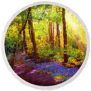 Round Beach Towel featuring the painting Bluebell Blessing by Jane Small