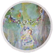 Round Beach Towel featuring the painting Bluebell Fairies by Judith Desrosiers