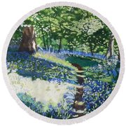 Bluebell Forest Round Beach Towel by Joanne Perkins