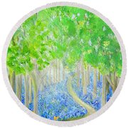 Bluebell Wood With Butterflies Round Beach Towel