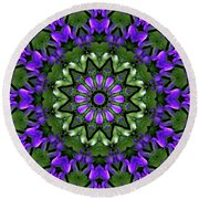 Round Beach Towel featuring the digital art Bluebells And Reflection by Aliceann Carlton