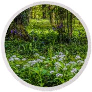 Bluebells And Wild Garlic At Coole Park Round Beach Towel