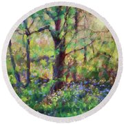 Bluebells At Sunset-along The Roanoke River Round Beach Towel