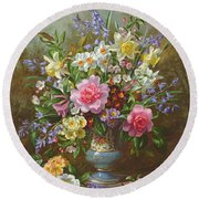 Bluebells Daffodils Primroses And Peonies In A Blue Vase Round Beach Towel