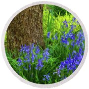 Round Beach Towel featuring the photograph Bluebells Of Springtime  by Connie Handscomb