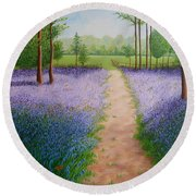 Bluebells With Butterflies Round Beach Towel