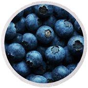 Blueberries Background Close-up Round Beach Towel
