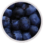 Blueberries Close-up - Horizontal Round Beach Towel