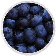 Blueberries Close-up - Vertical Round Beach Towel