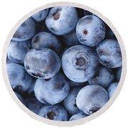 Blueberries Foodie Phone Case Round Beach Towel by Edward Fielding