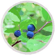Blueberries Halftone Round Beach Towel