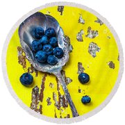 Blueberries In Silver Spoon Round Beach Towel by Garry Gay