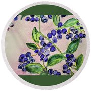 Blueberries Round Beach Towel by Kim Nelson