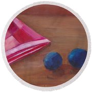 Round Beach Towel featuring the painting Blueberries With Red Napkin by Patricia Cleasby