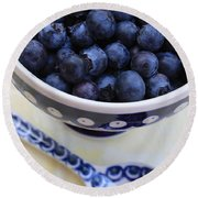 Blueberries With Spoon Round Beach Towel by Carol Groenen