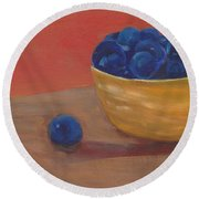 Blueberries Yellow Bowl Round Beach Towel