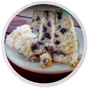 Blueberry Cake With Lemon Icing Round Beach Towel