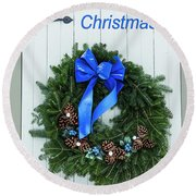Blueberry Christmas Wreath Round Beach Towel
