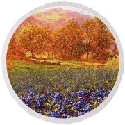 Blueberry Fields Season Of Blueberries Round Beach Towel