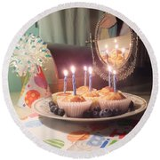 Blueberry Muffin Birthday Round Beach Towel