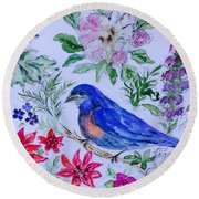 Bluebird In A Garden Round Beach Towel
