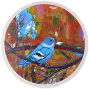 Bluebird In Autumn Round Beach Towel