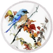 Bluebird In The Fall Round Beach Towel