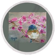 Bluebird On A Branch Round Beach Towel