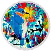 Bluebird Pop Art Round Beach Towel
