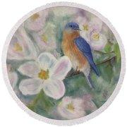 Bluebird Vignette Round Beach Towel by Brenda Bonfield
