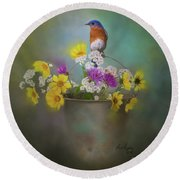 Bluebird With Bucket Of Flowers Round Beach Towel