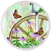 Bluebirds And Butterflies Round Beach Towel