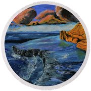 Blue,blue Ocean With Clouds Round Beach Towel