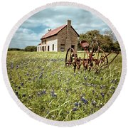Round Beach Towel featuring the photograph Bluebonnet Fields by Linda Unger