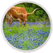Bluebonnet Longhorn Round Beach Towel by Inge Johnsson