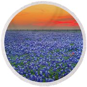 Bluebonnet Sunset Vista - Texas Landscape Round Beach Towel