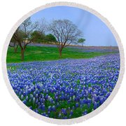 Bluebonnet Vista - Texas Bluebonnet Wildflowers Landscape Flowers  Round Beach Towel