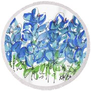 Bluebonnet Dance Whimsey,by Kathleen Mcelwaine Southern Charm Print Watercolor, Painting, Round Beach Towel