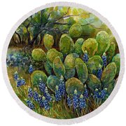 Round Beach Towel featuring the painting Bluebonnets And Cactus 2 by Hailey E Herrera